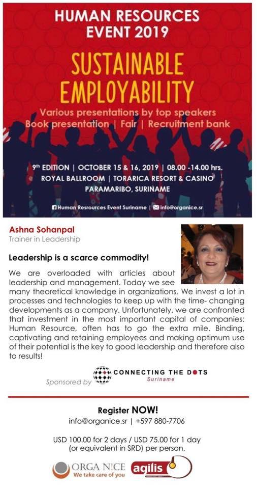 Sustainable Employability - Human Resource Event 2019 - Paramaribo, Suriname - Asha Sohanpal